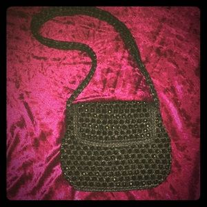Navy blue vintage Magid beaded straw handbag